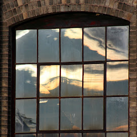 Paned Sunset by Rhonda Mullen - Buildings & Architecture Decaying & Abandoned