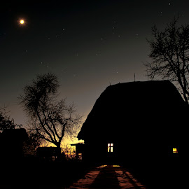 Good night from Maramures! by Gabriel Motica - Buildings & Architecture Homes ( old house, maramures, moon, stars, sunset )