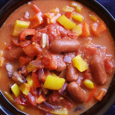 Sweet Tomato Peppers With Little Smokie Sausages