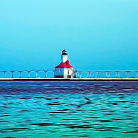 Lake Michigan by Shawn Klawitter - Digital Art Places ( lake michigan, nature, waterscape, lighthouse, st. johns )