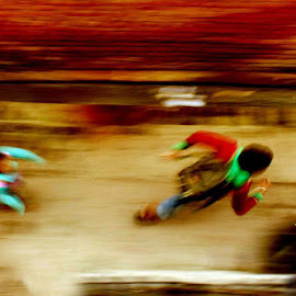 Chase by Shashi Sharma - Abstract Light Painting ( playing, abstract, abstract art, children, running, alley )