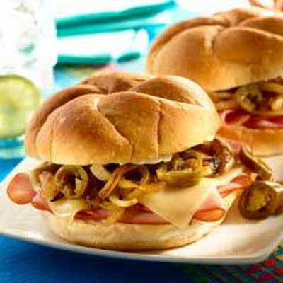 Ham & Cheese Tortas With Sweet Onions & Jalapenos