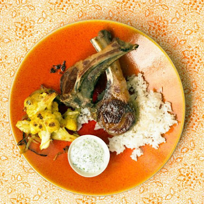 Lamb Chops with Curried Cauliflower and Yogurt Sauce