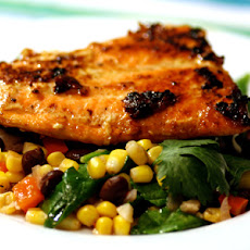 Honey Glazed Salmon and Black Bean Corn Salad