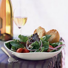 Mesclun and Romaine Salad with Warm Parmesan Toasts