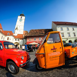 Cars from Sibiu by Panfil Pirvulescu - City,  Street & Park  Street Scenes ( car, old, red, color, street, summer, romania, sibiu, city )