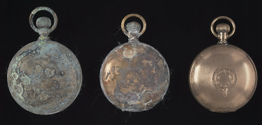 Watch cases recovered from the Lusitania
