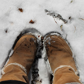 A walk in the snow  by Erica Rauhuff - Artistic Objects Clothing & Accessories ( uggs, snow, snow day, walk, boots )