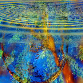 Visions of Rainbows by Scott Walker - Abstract Water Drops & Splashes ( water, abstract art, color, ripples, fusion )