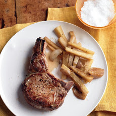 Pork Chops with Shallots and Parsnips