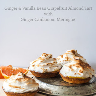 Ginger & Vanilla Bean Grapefruit Almond Tart with Ginger Cardamom Meringue