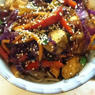 Soba Noodles, Chicken, and Veggies with Caramelized Garlic Sauce