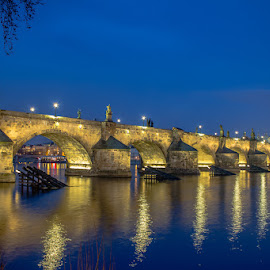Charles Bridge by Vladimir Vocelka - City,  Street & Park  Historic Districts ( blue hour, czech republic, tourism, prague, charles bridge,  )