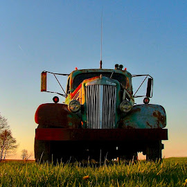 In the Sunset of it's Years by Julie Dant - Transportation Automobiles ( old vehicles, old trucks, sunsets, antique trucks, nostalgia )
