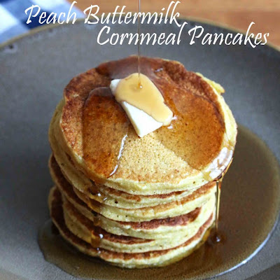 Peach Buttermilk Cornmeal Pancakes