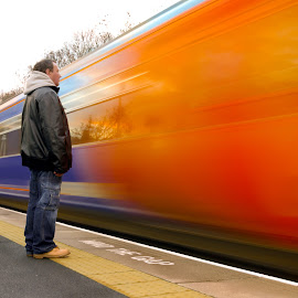 Mind The Gap by Graham Briggs - Transportation Trains ( train speed blur motion danger mind the gap )