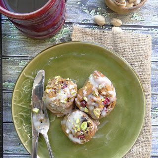 Pumpkin Pistachio Cranberry Sweet Rolls ~ Cream Cheese Frosting