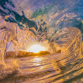 Sunrise Wave by Marcelo Nalu - Landscapes Beaches ( water, mountain, waterscape, waves, ocean, beach, landscape, sunlight, photography, oahu, sun, shorebreak, maui, surfing, blue, sunset, sunrise, surf, barrel, hawaii, golden )