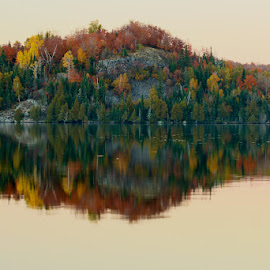Sunset Reflections by Scott Glime - Landscapes Waterscapes ( reflection, trees, lake, dusk, fall color, fall, color, colorful, nature )