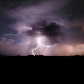 Another Night in Montana by Max Erickson - Landscapes Weather ( lightning, montana, stars, weather, nightscape )