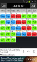 Screenshot of Shift Work Calendar
