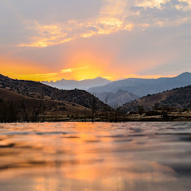 Kaweah Sunrise by Tim Justtim - Landscapes Mountains & Hills ( clouds, mountains, sunrays, lake, sunrise )