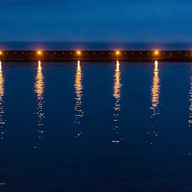 Lights from the pier by Cesare Morganti - Abstract Light Painting ( lights, water, reflection, light painting, waterscape, pier, reflections, light )