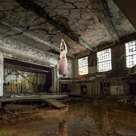 Suspension  by Aga Furtak - Digital Art Places ( artictic, photographychicago, reflection, fineart, gary, church, industrial, woman, suspension, surreal, decay, abandoned )