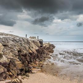 Pantai Redang, Sekinchan by Abot Tee - Landscapes Beaches ( dark, cloudy, beach, rocks, rain )