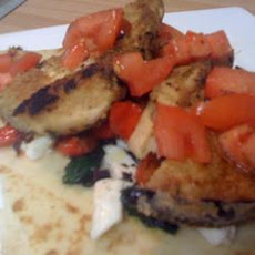 Eggplant, Roasted Pepper and Chicken Pitas