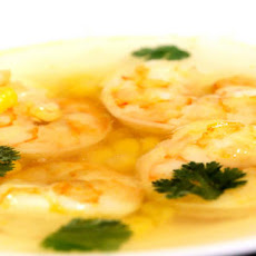Doritos Consommé with Shrimp, Smoked Corn, and Cilantro Recipe