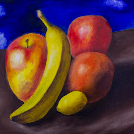 Still Life Study by Nick Higer - Painting All Painting ( cool, banana, orange, fruit, apple, still life, painting )