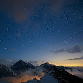 light.... over the ridge by Martin Holusza - Landscapes Mountains & Hills ( mountains, night, light, italy, alps )