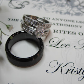 Rings waiting by Kaye Petersen - Wedding Details ( ring, certificate, wedding, titanium, diamond, artistic, jewelry, gold, object )
