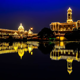 Blue Hour Magic by Ankit Chauhan - Buildings & Architecture Statues & Monuments ( water, reflection, blue, decoration, blue hour, fountain, celebrations, yellow, republic day )
