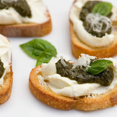 Pesto Cheese Crostini