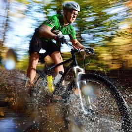 Mountain biker by Shane McKenzie - Sports & Fitness Cycling ( water, adventure, splash, offroad, cycling, creek, mountain bike, puddle, woods, pan,  )