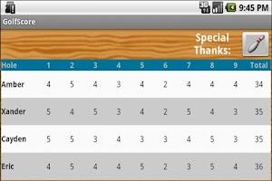 Screenshot of Golf Score