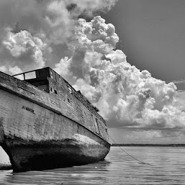 by Chev M - Transportation Boats ( broken, black and white, cloudscape, foreground )