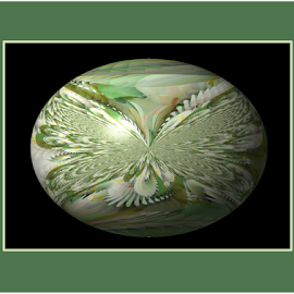 FWL 5 - Framed Egg by Tina Dare - Digital Art Abstract ( abstract, greens, patterns, designs, manipulated, distorted, framed, framed art, fractal, egg, shapes )