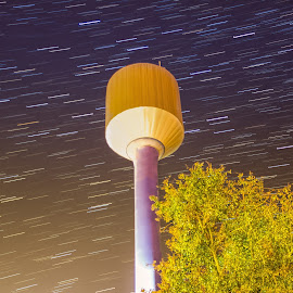 Startrails over the Water Tower by Srdjan Vujmilovic - Abstract Light Painting ( exposure, canon, person, land, nightphotography, landscape, people, photography, dslr, astrography, share, macro, life, nature, photographer, weather, lonexposure, photoshop, milkyway, camera, star, like, photo, portrait, tower, startrail, stars, night, day,  )