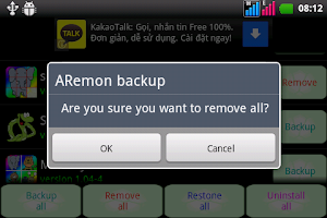 Screenshot of ARemon backup restore manage