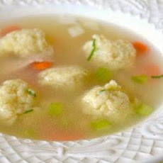 Chicken Soup with Miniature Leek-Chive Matzo Balls