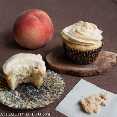 White Peach Cupcakes with Brown Sugar Frosting