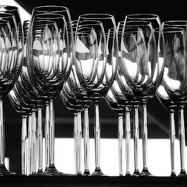 Champagne Flutes 2 by Tamsin Carlisle - Black & White Objects & Still Life ( mirror, champagne, glasses, stemware, flutes, niche, reflections, hotel, bar,  )