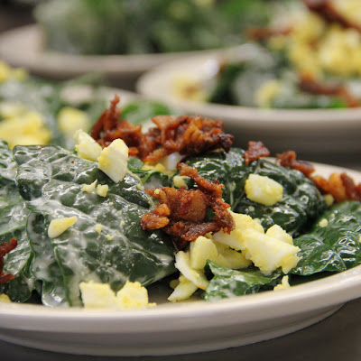 Raw Lacinato Kale Salad with Bacon and Egg