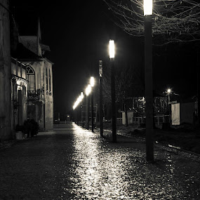 Path of light by Luís Perdigão - City,  Street & Park  Night ( black and white, street, night, light )