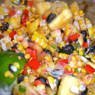 Fresh Corn, Blueberry, and Pineapple Salad with Spring Onions and Shallots