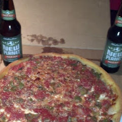 Amazing deep dish pizza and New Planet Beer