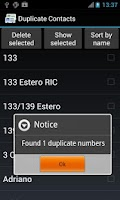Screenshot of Duplicate Contacts